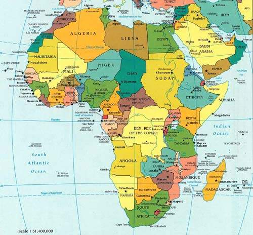 Africa Accommodation - Map of egypt and africa