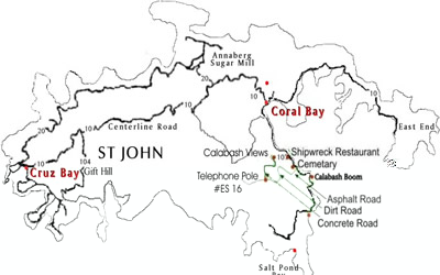 St. John accommodation map